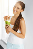 Organic Food. Healthy Eating Woman Drinking Detox Juice. Lifesty Stock Images