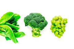 Organic food for homemade salad with green broccoli on white desk background top view Stock Photo