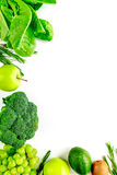 Organic food for homemade salad with green broccoli on white desk background top view mock-up Stock Photo