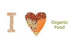 Organic Food. I love Organic Food Concept with Heart Shaped Mix Pulse and I Text with Dried Chickpeas Stock Image