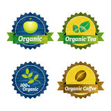 Organic food icons. With apple, branch and leafs Royalty Free Stock Photos