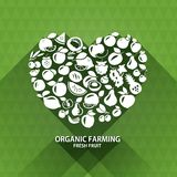 Organic food icons. Heart shape with organic Stock Images
