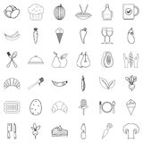 Organic food icons set, outline style. Organic food icons set. Outline style of 36 organic food vector icons for web isolated on white background Stock Photography