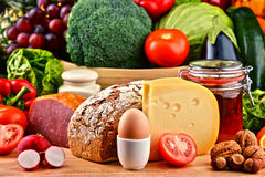 Organic food including vegetables fruit bread dairy and meat Stock Photography