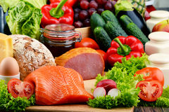 Organic food including vegetables, fruit, bread, dairy and meat. Variety of organic food including vegetables, fruit, bread, dairy and meat. Balanced diet Royalty Free Stock Photo