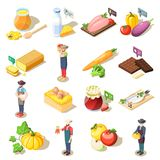 Organic Food Isometric Icons. Set of isometric icons organic food including fruits vegetables, dairy products, eggs and honey isolated vector illustration Royalty Free Stock Image