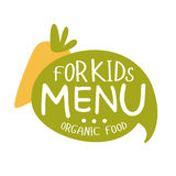 Organic Food For Kids, Cafe Special Menu For Children Colorful Promo Sign Template With Text And Carrot Royalty Free Stock Image