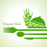 Organic food label design concept with restaurant forks Royalty Free Stock Photos