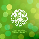 Organic food label on green background Royalty Free Stock Photo