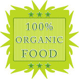 100% organic food label. 100% organic food green leaf label on a white background royalty free illustration