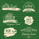 Organic food label and logos set. Farm Fresh label and Logo. Element. Organic,bio,ecology natural design template. Organic food tags for meal and drink for shop vector illustration
