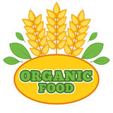 Organic food label with wheat ears Royalty Free Stock Photo