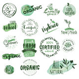 Organic food labels and badges. Royalty Free Stock Photo
