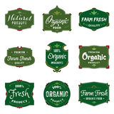 Organic Food Labels. A collection of 9 organic food labels, perfect to showcase and promote your products Royalty Free Stock Images