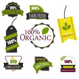 Organic food labels and elements. royalty free stock photo