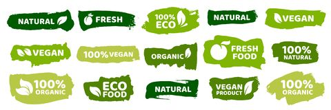 Organic food labels. Fresh eco vegetarian products, vegan label and healthy foods badges vector set stock illustration
