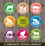 Organic food labels,  image. S of organic products with different animals or kinds of organic foods Royalty Free Stock Photos