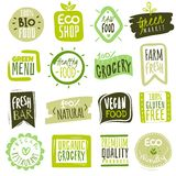 Organic food labels. Natural meal and fresh products logo. Ecology farm bio food vector green premium badges. Organic food labels. Natural meal fresh products royalty free illustration