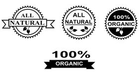 Organic Food Labels. Set of black and white organic and natural food labels and seals vector illustration
