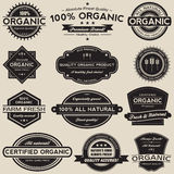 Organic Food Labels Vector Collection Set. A collection of 12 retro vintage style organic food label vectors vector illustration