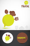 Organic food logo. With utensils Royalty Free Stock Photography