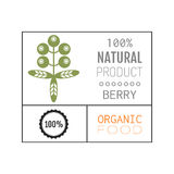 Organic food. Logo, badge, label for healthy eating, berry icon. Organic food. Logo, badge and label for healthy eating with berry icon, silhouette. Vector Stock Photo