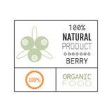 Organic food. Logo, badge, label for healthy eating, berry icon. Organic food. Logo, badge and label for healthy eating with berry icon, silhouette. Vector royalty free illustration