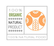 Organic food. Logo, badge and label for healthy eating with berry icon, silhouette. Vector illustration Stock Photos