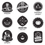 Organic food logo-badges vintage vector set. Hipster and retro style. Perfect for your business. Stock Image