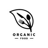 Organic food logo with leaf, fork, knife and spoon icon Royalty Free Stock Image