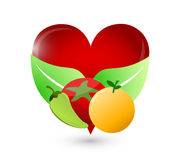 Organic food and loving heart illustration Royalty Free Stock Image