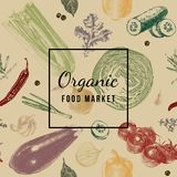 Organic food market emblem. Over hand drawn seamless pattern with vegetables. Vector illustration in retro style Stock Photography