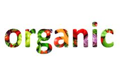 Organic food, multi-colored text cut out of vegetables photo, the inscription on white background stock illustration