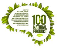 Organic food, natural product badge, 100 percent natural design. Element, organic products promotion, vector design made in paper cut realistic style vector illustration