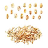 Raw oat flakes photo realistic vector set. Organic food oat flakes photo realistic vector set Royalty Free Stock Photography