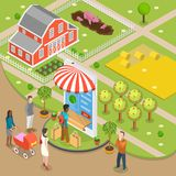 Organic food online order flat isometric low poly vector concept. People are ordering foods through the smartphone shown as store, that located just near the Stock Images
