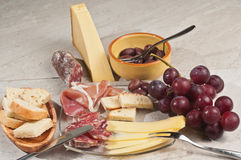 Organic food paring for an eligant french wine tasting event Stock Photo