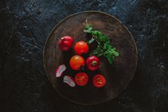 Organic Food Photography - Tomatoes, Mint and Red Beet. Tomatoes, Mint and Red Beet Stock Photo