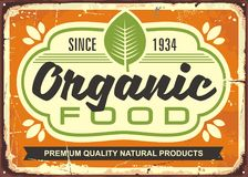 Organic food retro sign poster Royalty Free Stock Image