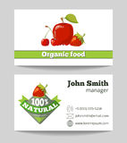 Organic food shop business card template stock illustration