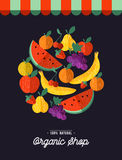 Organic food shop design with fruit illustration Royalty Free Stock Photography