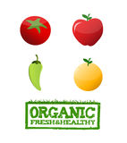 organic food sign and text illustration Royalty Free Stock Images