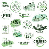 Organic food stickers and badges Stock Images