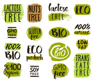 Organic food tags, elements and logo. Healthy food icons, labels. Organic tags. Natural product elements. Logo for vegetarian restaurant menu. Vector Stock Photo