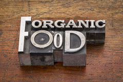 Organic food text in metal type Royalty Free Stock Image