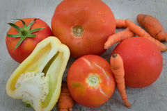 Organic food, tomatoes, pepper and carrots Stock Photos