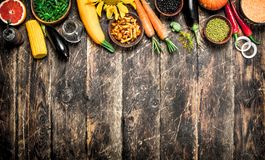 Organic food. A variety of vegetables and fruits. Stock Image