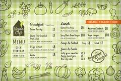 Organic food vegan restaurant menu board or placemat template Royalty Free Stock Image