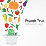Organic food. Vegetable food icons. Healthy eating concept. Vector Royalty Free Stock Photo