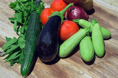 Organic food of vegetables in the basket Royalty Free Stock Photo